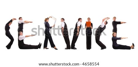 Young business people forming service word over white - stock photo