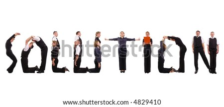 Young business people forming solution word over white - stock photo