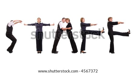 Young business people forming staff word over white - stock photo