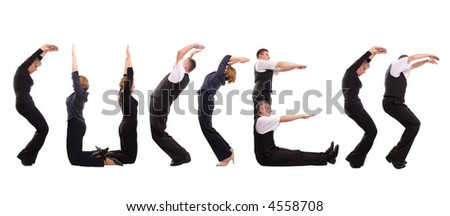 Young business people forming success word over white - stock photo