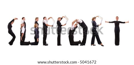 Young business people forming Support word over white - stock photo