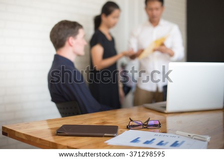 young business people group have meeting at conference room and have discusion about new ideas plans and problems. - stock photo