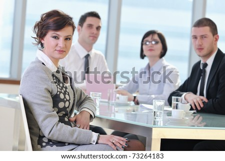 young business people group have meeting at conference room and have discussion about new ideas plans and problems - stock photo