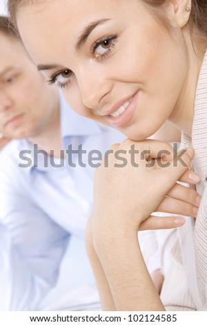 Young business people in a meeting at office - stock photo