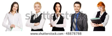 Young business people over white background - stock photo