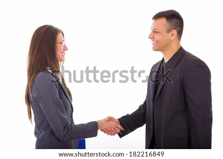 young business people shaking hands and closing deal