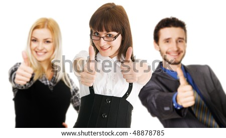 Young business people showing Thumbs Up sign, white background - stock photo