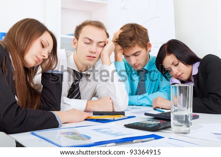young business people sleeping resting on workplace, during work meeting, men and women relaxed sitting at office desk with closed eyes, concept of workout, exhausted businesspeople bored sleep, tired - stock photo