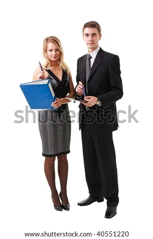 Young business people standing on a white background