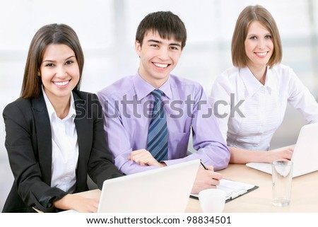 Young business people working in the office