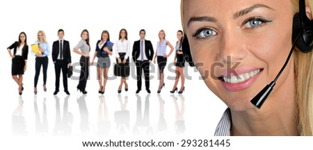 Young business team and assistant on white - stock photo