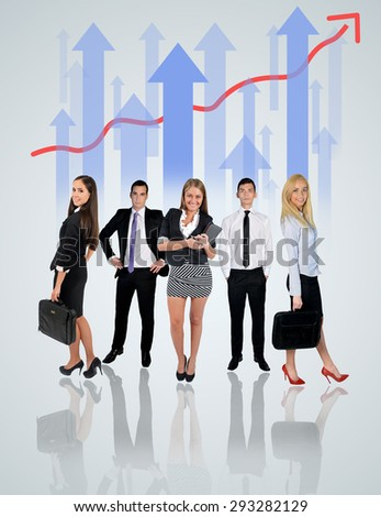 Young business team and chart on blue background