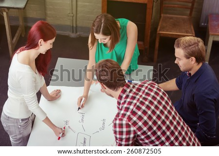 Young business team brainstorming a new project standing around a table working together on a graph, high angle view - stock photo