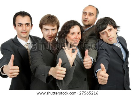 young business team going thumbs up, isolated on white - stock photo