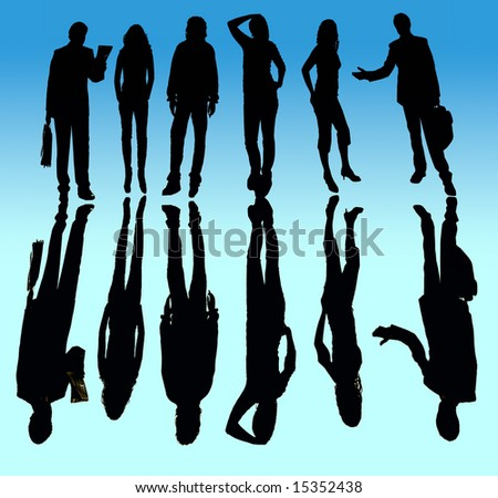 young business team in silhouette, isolated on white