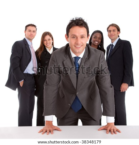 Young business team isolated over a white background