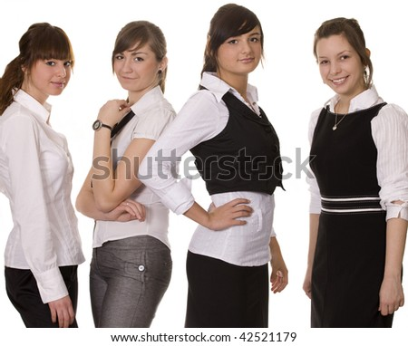 Young business team of four professional women. White background - stock photo