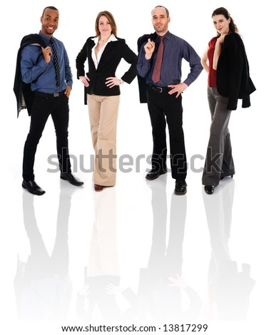 Young business team on a white background