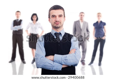 Young business team on white background