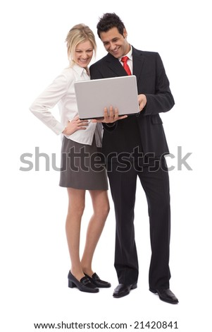 young business team with a modern laptop