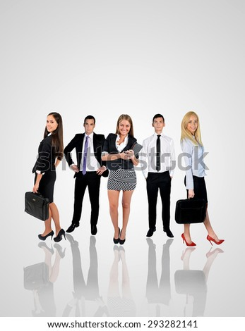 Young business team with copy space - stock photo
