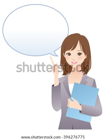 young business woman and comments balloon