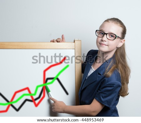 young business woman at a Board with financial charts
