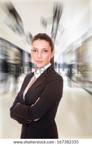 Young business woman at the office lobby