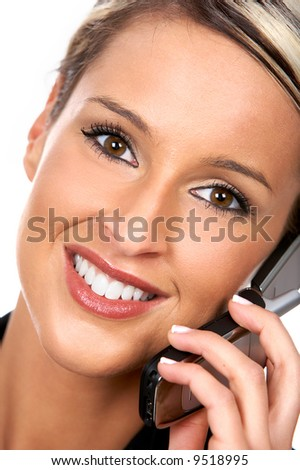 young business woman calling by cellular phone.