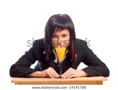 Young business woman Celebrating great contract with cocktail isolated on white - stock photo