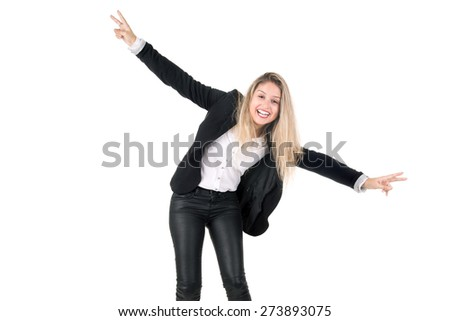 Young business woman celebrating isolated in white - stock photo
