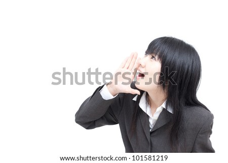 young business woman cheering isolated on white background - stock photo