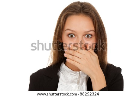 young business woman cover mouth by against white background - stock photo
