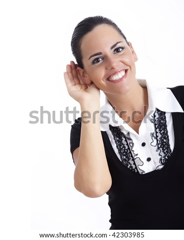 Young business woman cupping hand behind ear on white background - cant hear you concept - stock photo