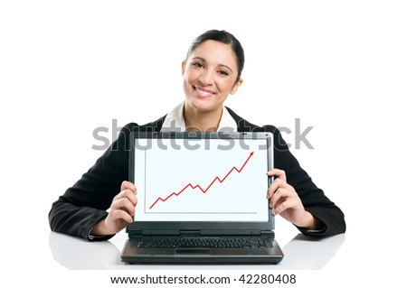Young business woman displaying successful growing graph on her laptop isolated on white background - stock photo