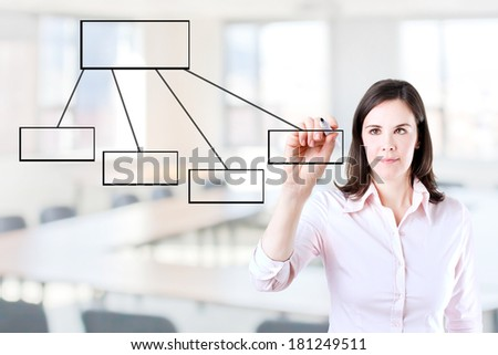 Young business woman drawing a flowchart 1. Office background.