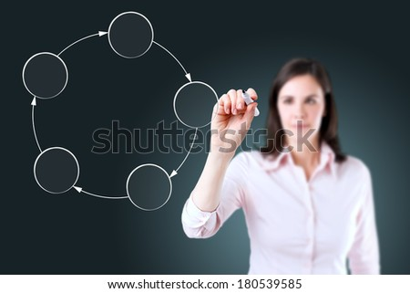 Young business woman drawing circle diagram. - stock photo