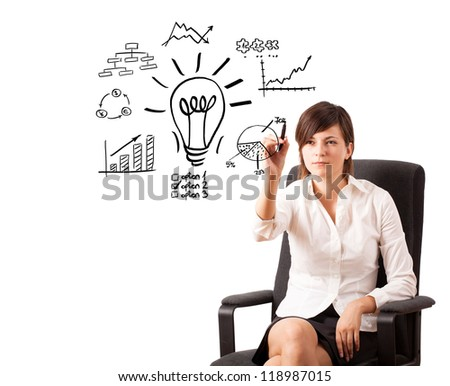 Young business woman drawing light bulb with various diagrams and charts on whiteboard isolated on white - stock photo