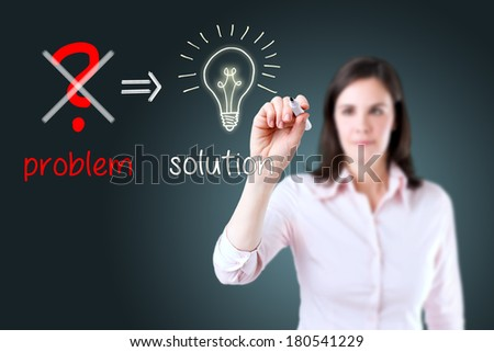 Young business woman eliminate problem and find solution.