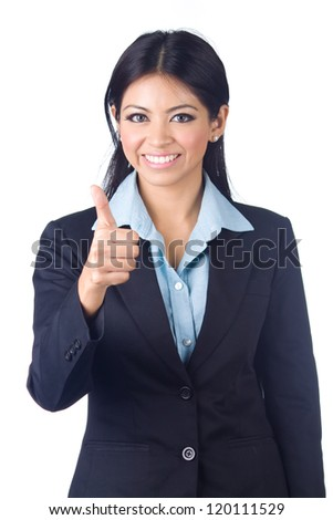 Young business woman gesturing thumbs up sign over white background