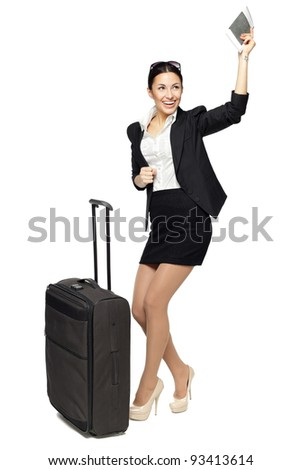 Young business woman happy because of the following trip isolated on white background