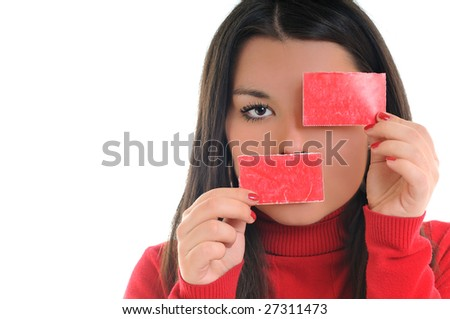 young business woman hold small red paper isolated