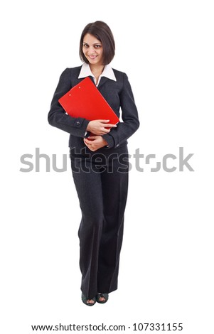 Young business woman holding a clipboard isolated on white background - stock photo