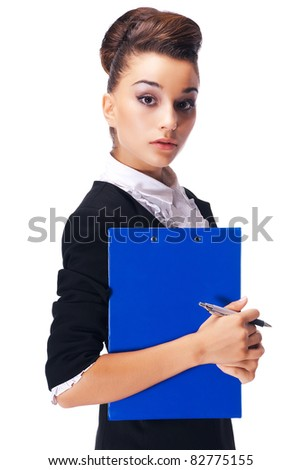 Young business woman holding a clipboard on a white background. - stock photo