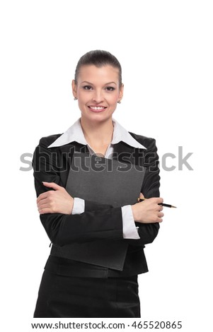 Young  business woman holding a folder.