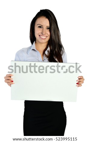 young business woman holding a placard on white background