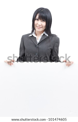 young business woman holding blank board, isolated on white background - stock photo