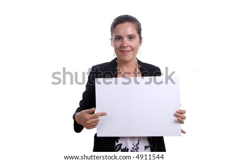 Young business woman holding blank card