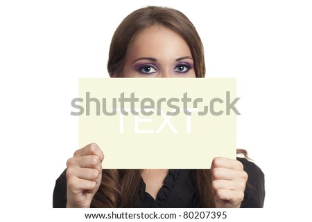 Young business woman holding blank piece of paper