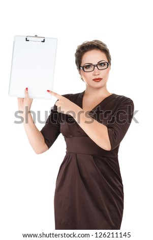 Young business woman holding empty white board studio isolated - stock photo